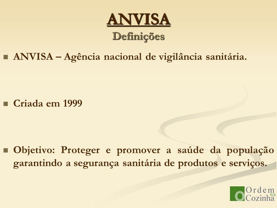 ANVISA Definições ANVISA – Agência nacional de vigilância sanitária.