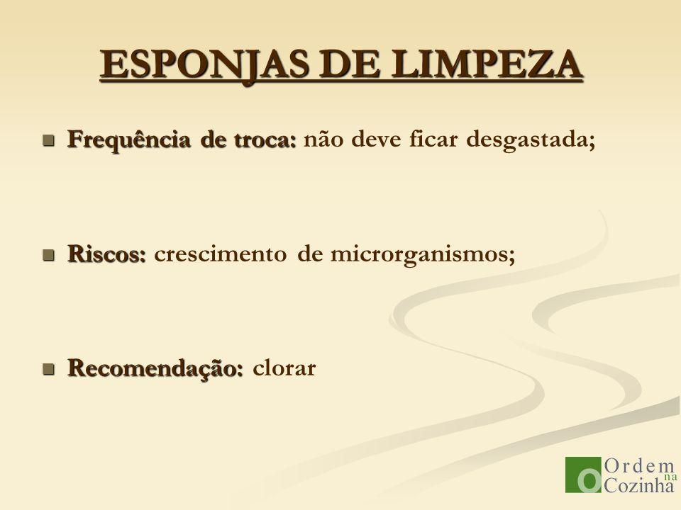 ESPONJAS DE LIMPEZA Frequência de troca: não deve ficar desgastada;