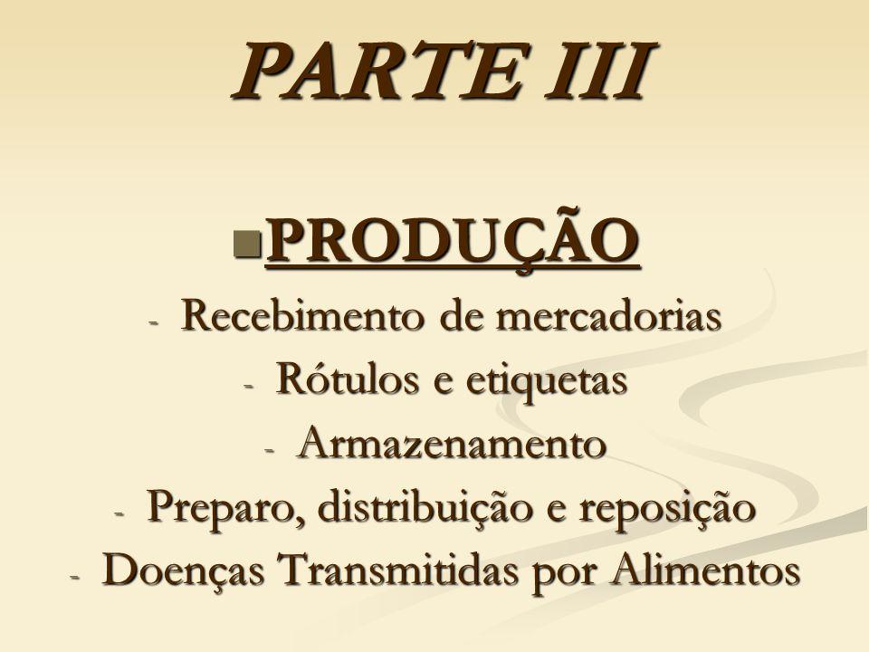PARTE III PRODUÇÃO Recebimento de mercadorias Rótulos e etiquetas