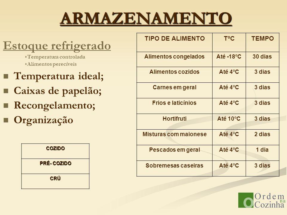 ARMAZENAMENTO Estoque refrigerado Temperatura ideal;