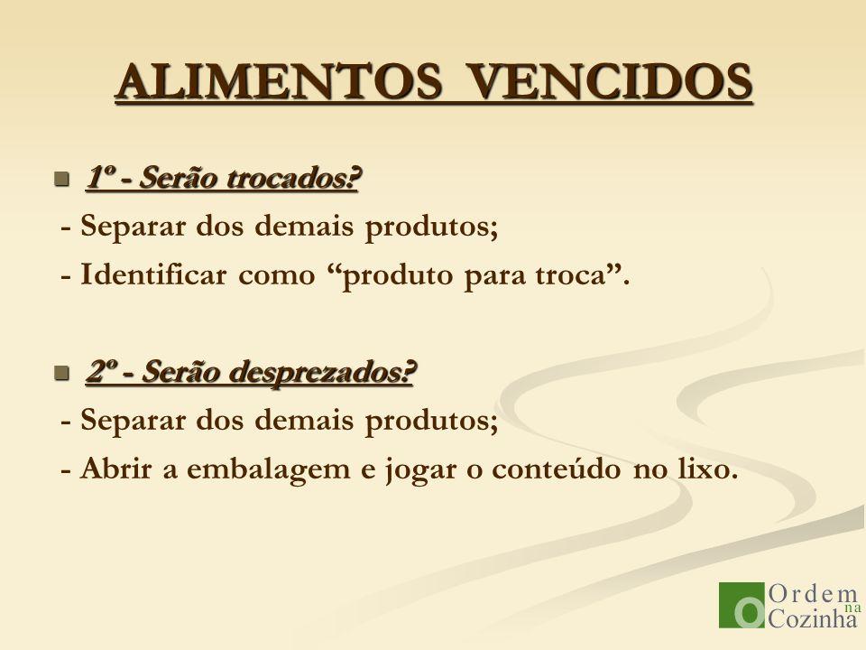 ALIMENTOS VENCIDOS 1º - Serão trocados - Separar dos demais produtos;