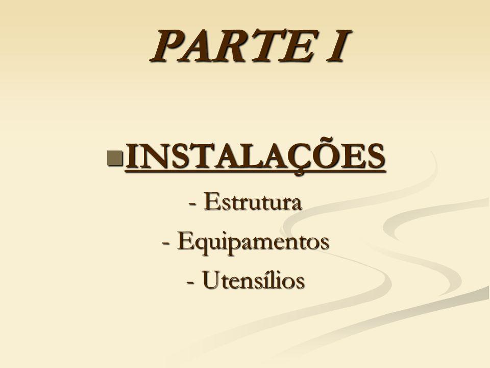 PARTE I INSTALAÇÕES - Estrutura - Equipamentos - Utensílios