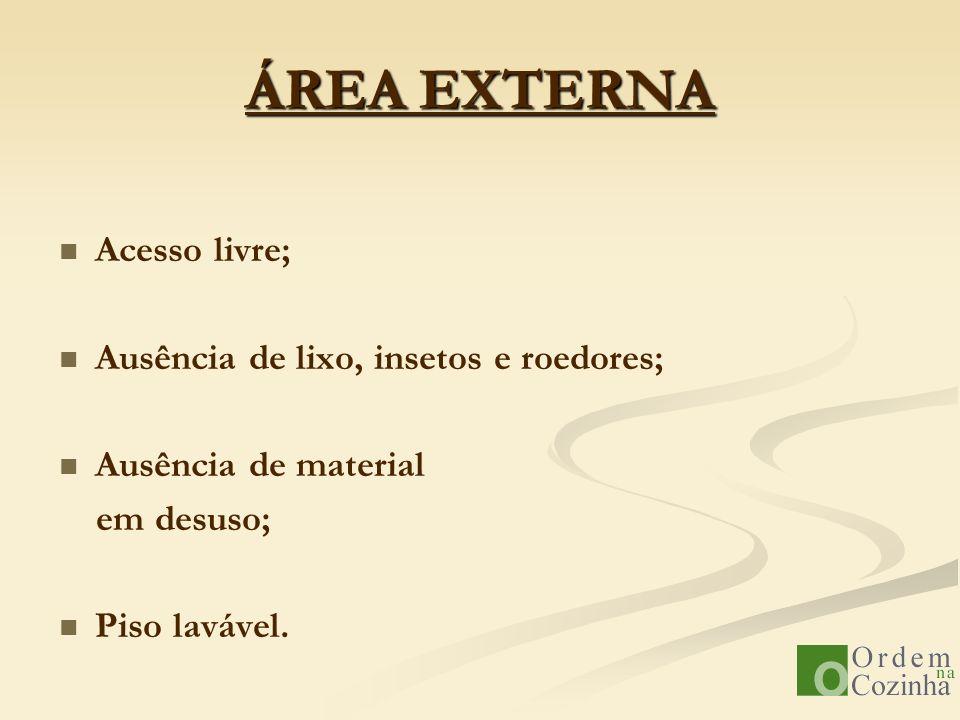 ÁREA EXTERNA Acesso livre; Ausência de lixo, insetos e roedores;