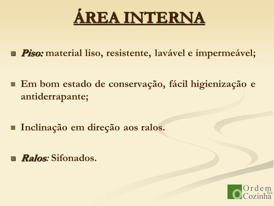 ÁREA INTERNA Piso: material liso, resistente, lavável e impermeável;