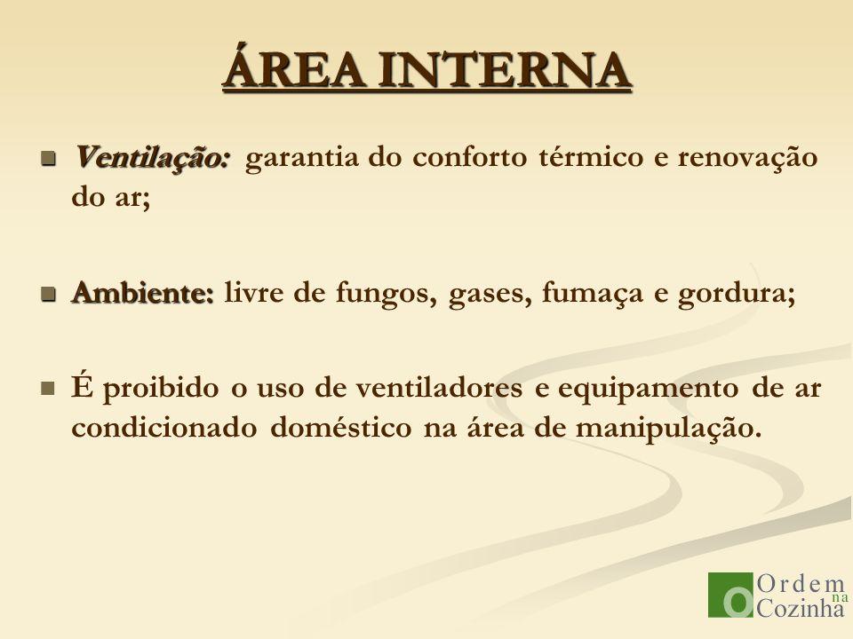 ÁREA INTERNA Ventilação: garantia do conforto térmico e renovação do ar; Ambiente: livre de fungos, gases, fumaça e gordura;