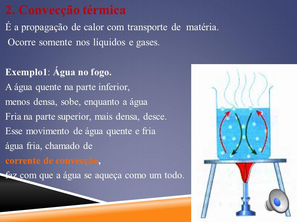2. Convecção térmica É a propagação de calor com transporte de matéria. Ocorre somente nos líquidos e gases.