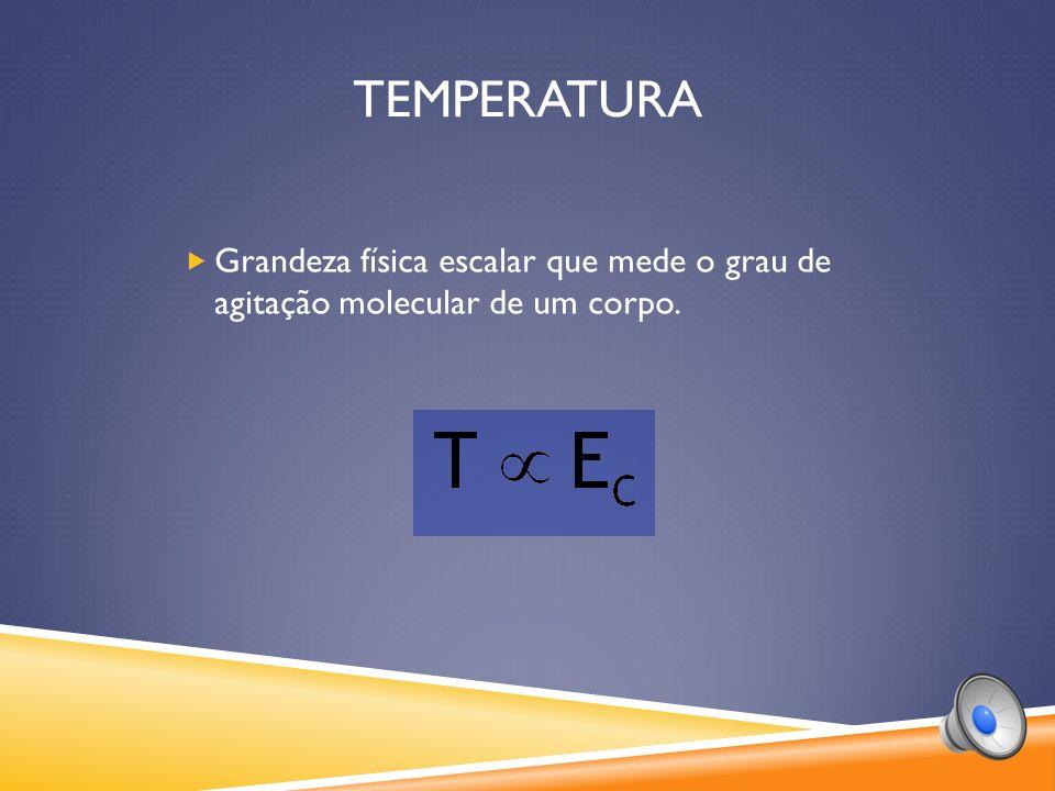 TEMPERATURA Grandeza física escalar que mede o grau de agitação molecular de um corpo.