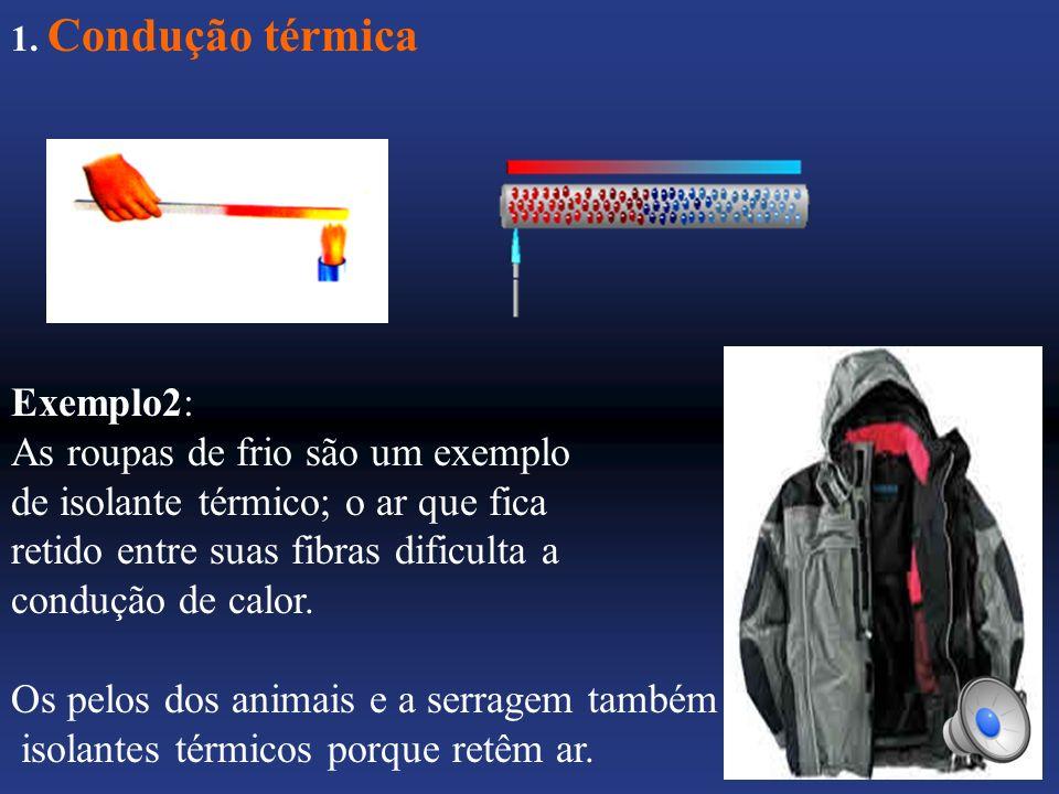 As roupas de frio são um exemplo de isolante térmico; o ar que fica