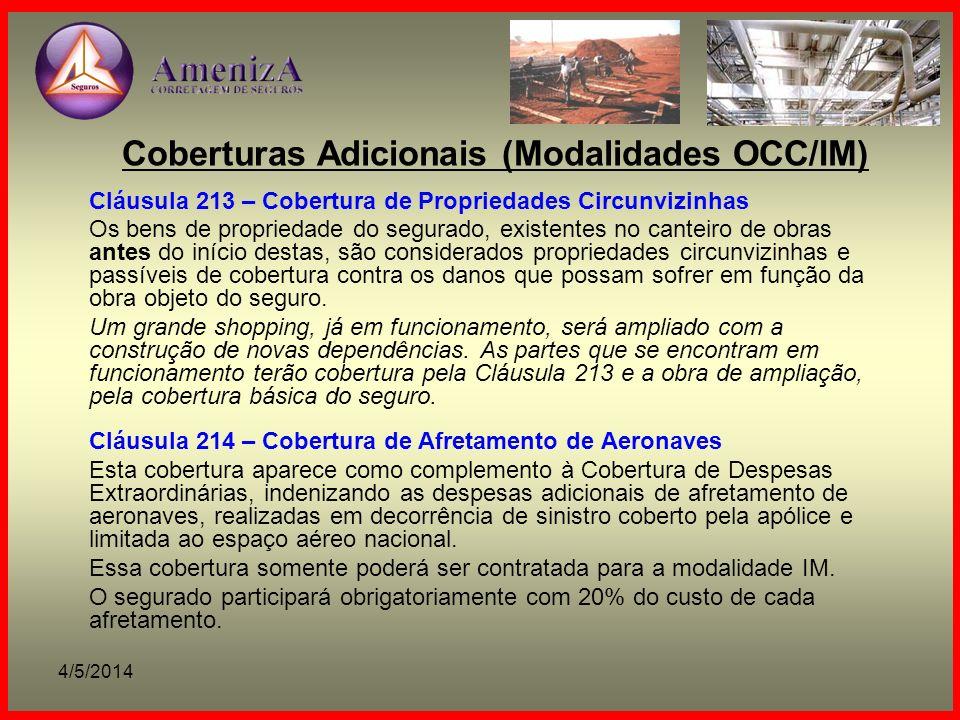 Coberturas Adicionais (Modalidades OCC/IM)