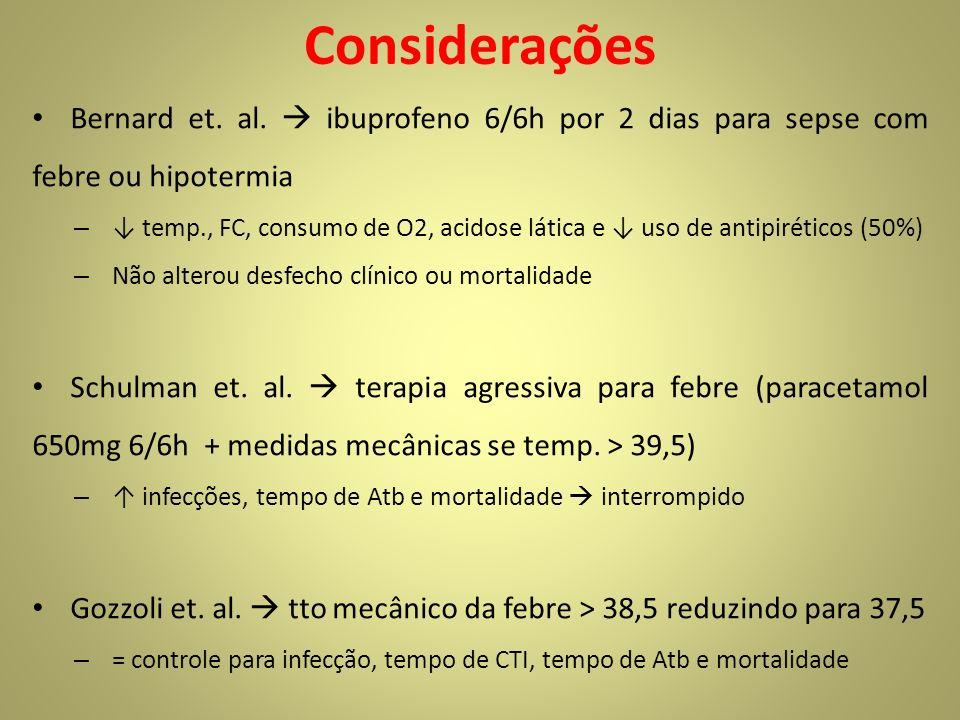 Considerações Bernard et. al.  ibuprofeno 6/6h por 2 dias para sepse com febre ou hipotermia.