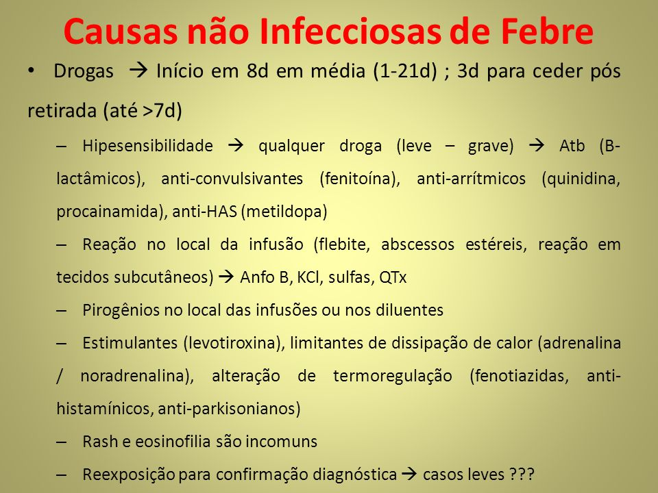 Causas não Infecciosas de Febre