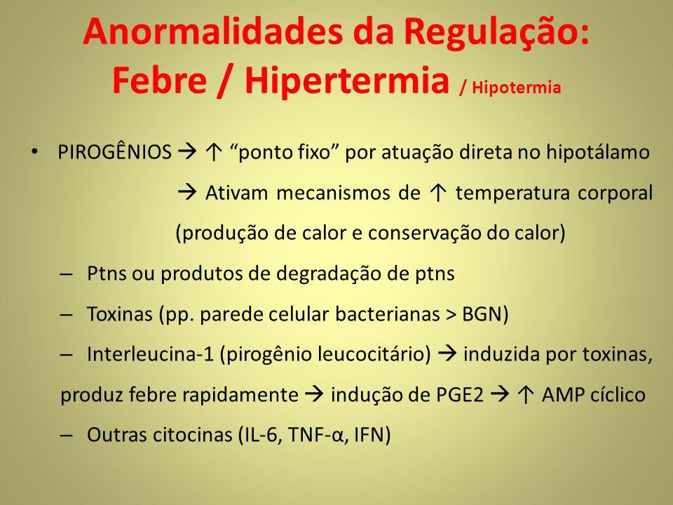 Anormalidades da Regulação: Febre / Hipertermia / Hipotermia