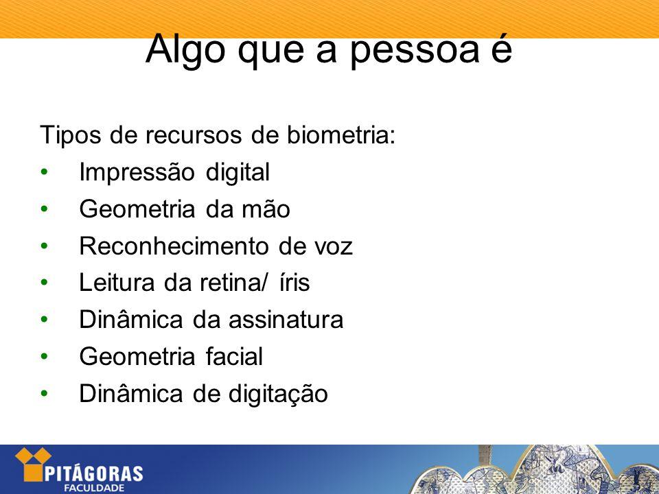 Algo que a pessoa é Tipos de recursos de biometria: Impressão digital