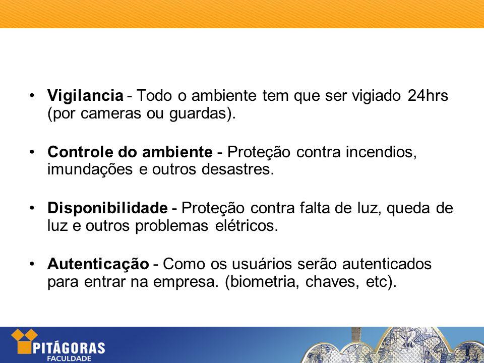 Vigilancia - Todo o ambiente tem que ser vigiado 24hrs (por cameras ou guardas).