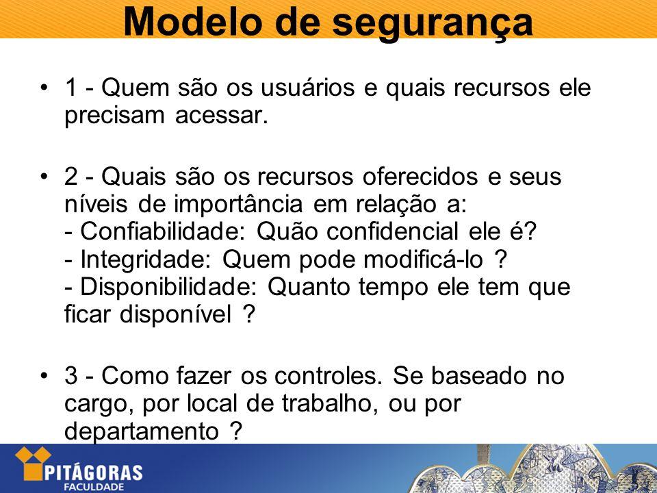 Modelo de segurança 1 - Quem são os usuários e quais recursos ele precisam acessar.