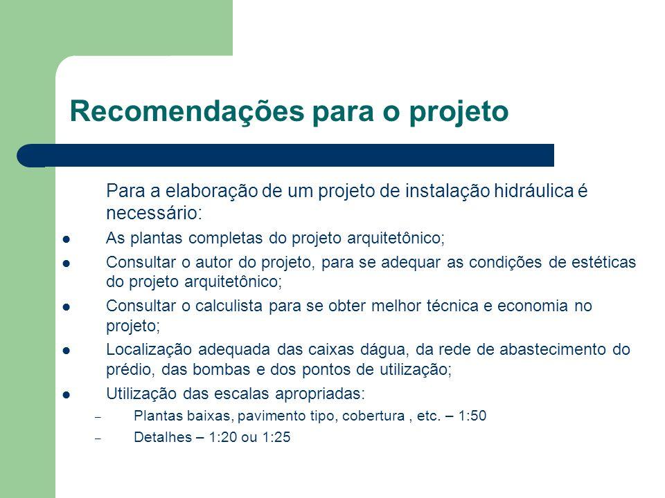 Recomendações para o projeto