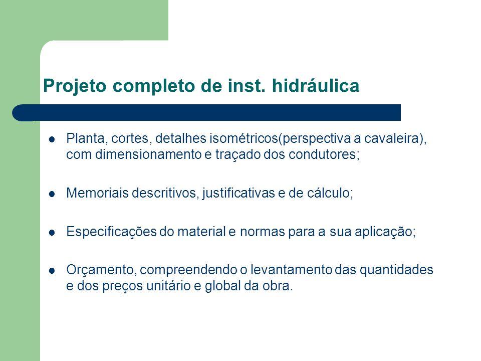 Projeto completo de inst. hidráulica