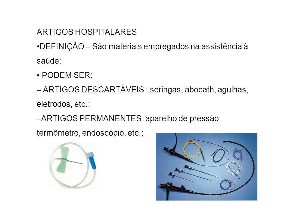 ARTIGOS HOSPITALARES •DEFINIÇÃO – São materiais empregados na assistência à saúde; • PODEM SER: