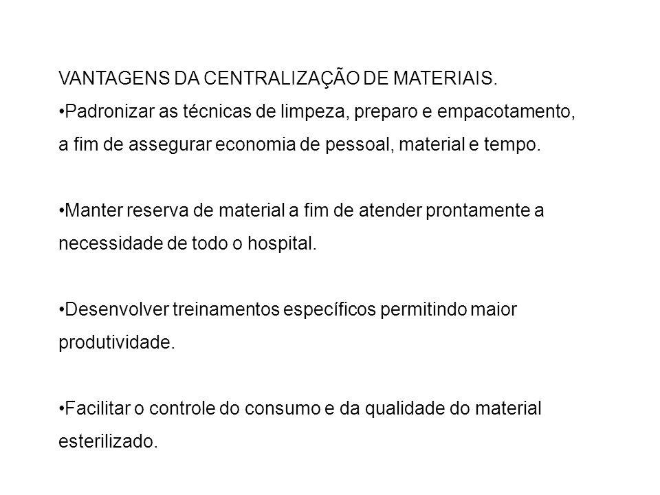 VANTAGENS DA CENTRALIZAÇÃO DE MATERIAIS.