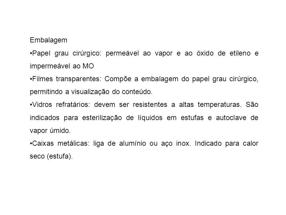 Embalagem •Papel grau cirúrgico: permeável ao vapor e ao óxido de etileno e impermeável ao MO.