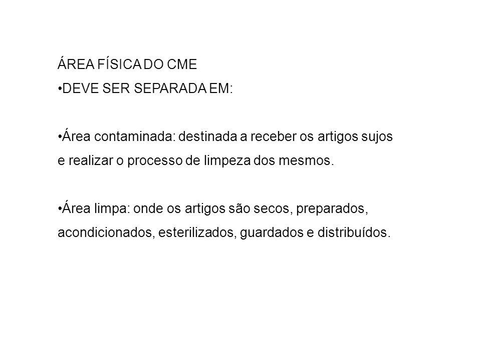 ÁREA FÍSICA DO CME •DEVE SER SEPARADA EM: •Área contaminada: destinada a receber os artigos sujos e realizar o processo de limpeza dos mesmos.