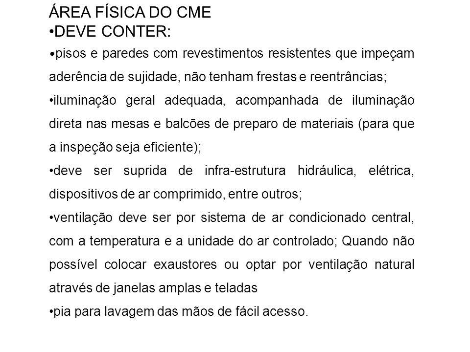 ÁREA FÍSICA DO CME •DEVE CONTER: