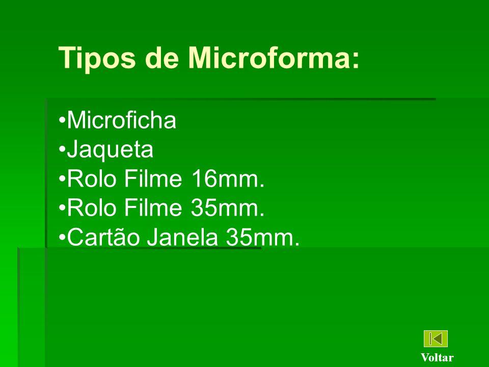 Tipos de Microforma: Microficha Jaqueta Rolo Filme 16mm.