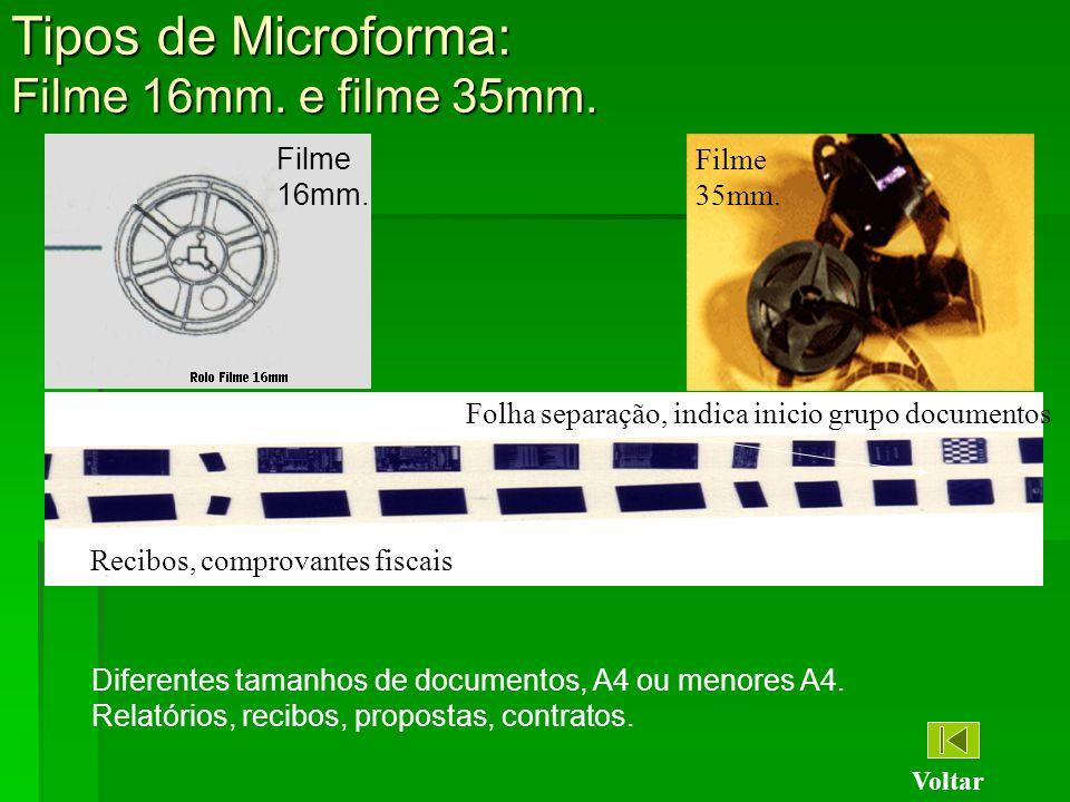 Tipos de Microforma: Filme 16mm. e filme 35mm.