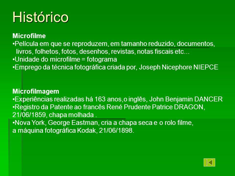 Histórico Microfilme. Película em que se reproduzem, em tamanho reduzido, documentos,