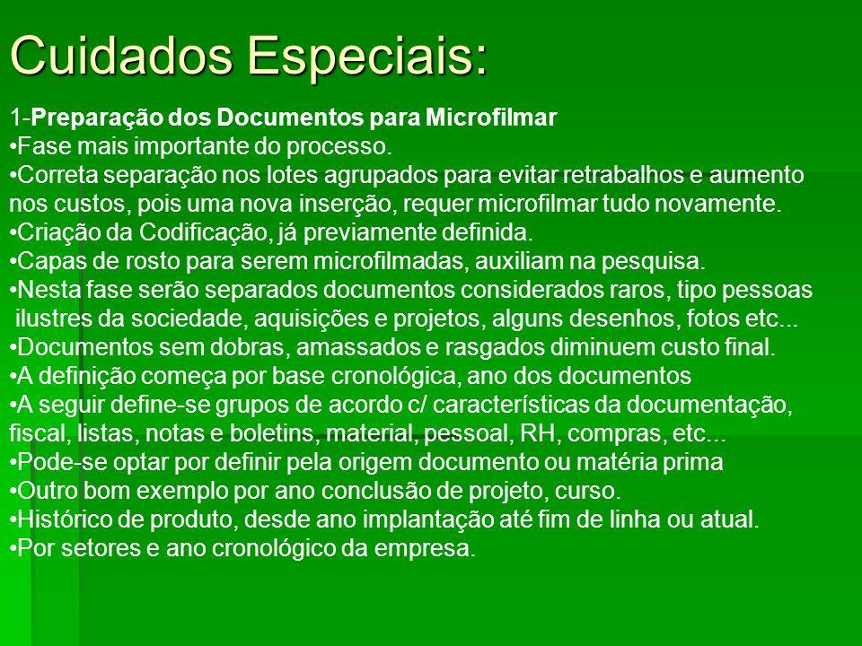 Cuidados Especiais: 1-Preparação dos Documentos para Microfilmar