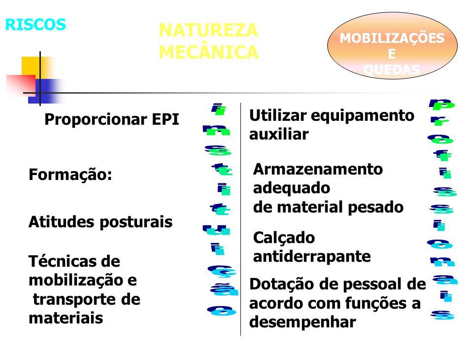 NATUREZA MECÂNICA RISCOS Utilizar equipamento auxiliar