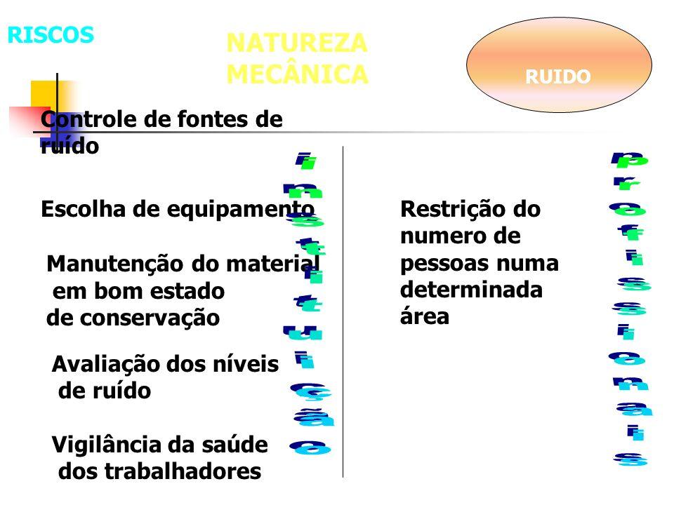 NATUREZA MECÂNICA RISCOS Controle de fontes de ruído