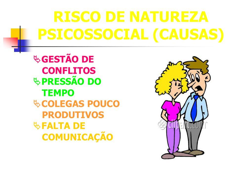 RISCO DE NATUREZA PSICOSSOCIAL (CAUSAS)