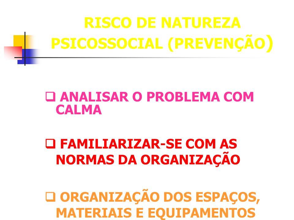RISCO DE NATUREZA PSICOSSOCIAL (PREVENÇÃO)