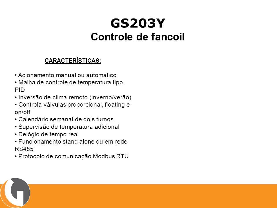 GS203Y Controle de fancoil • Acionamento manual ou automático