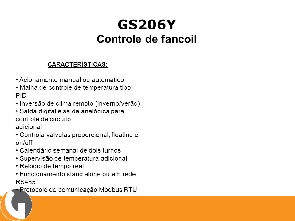GS206Y Controle de fancoil • Acionamento manual ou automático
