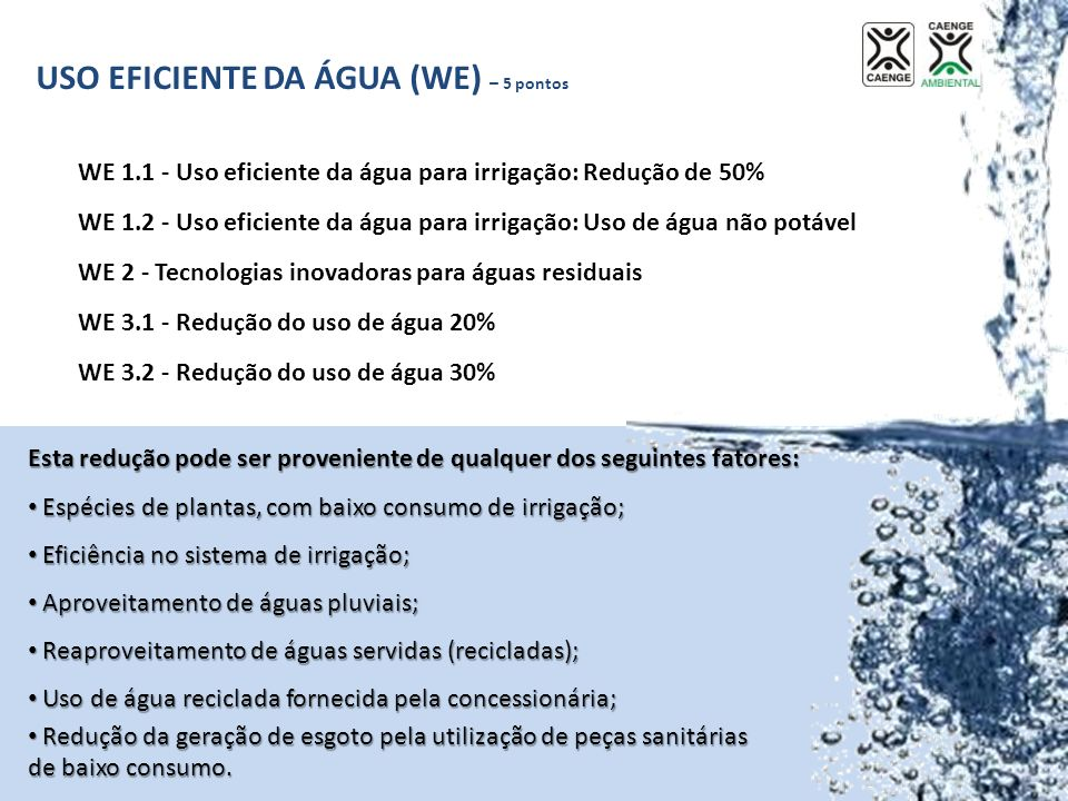 USO EFICIENTE DA ÁGUA (WE) – 5 pontos