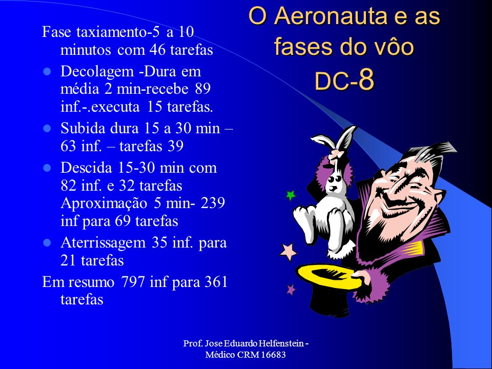 O Aeronauta e as fases do vôo DC-8