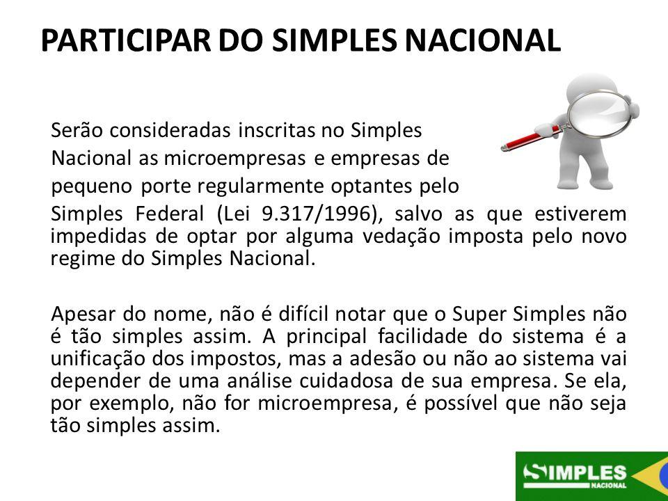 PARTICIPAR DO SIMPLES NACIONAL