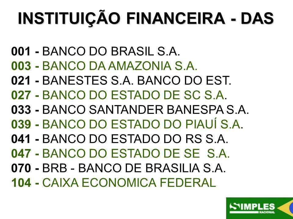 INSTITUIÇÃO FINANCEIRA - DAS