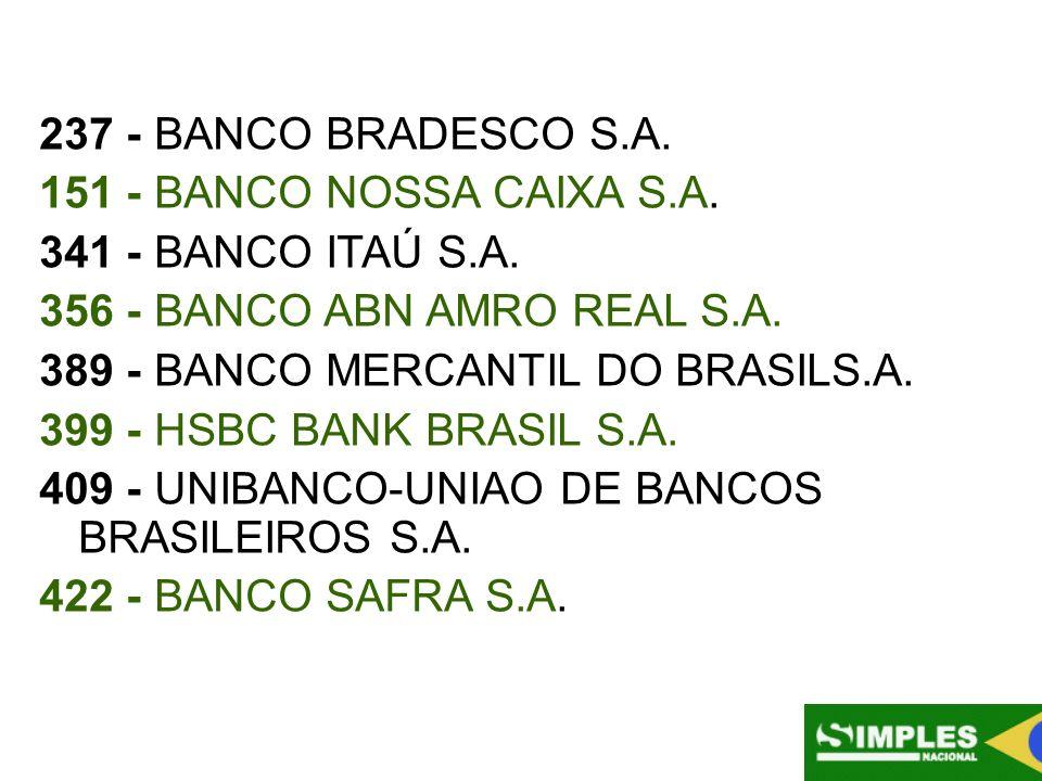 237 - BANCO BRADESCO S.A. 151 - BANCO NOSSA CAIXA S.A. 341 - BANCO ITAÚ S.A. 356 - BANCO ABN AMRO REAL S.A.