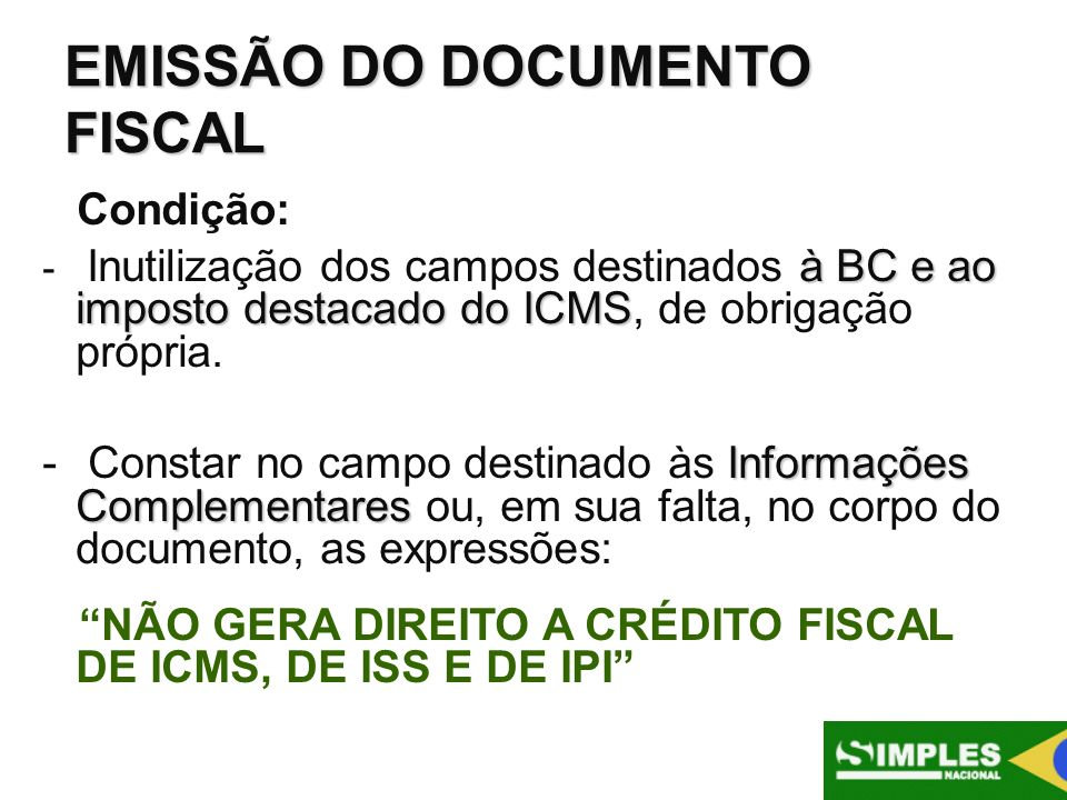 EMISSÃO DO DOCUMENTO FISCAL