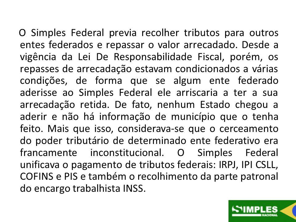 O Simples Federal previa recolher tributos para outros entes federados e repassar o valor arrecadado.