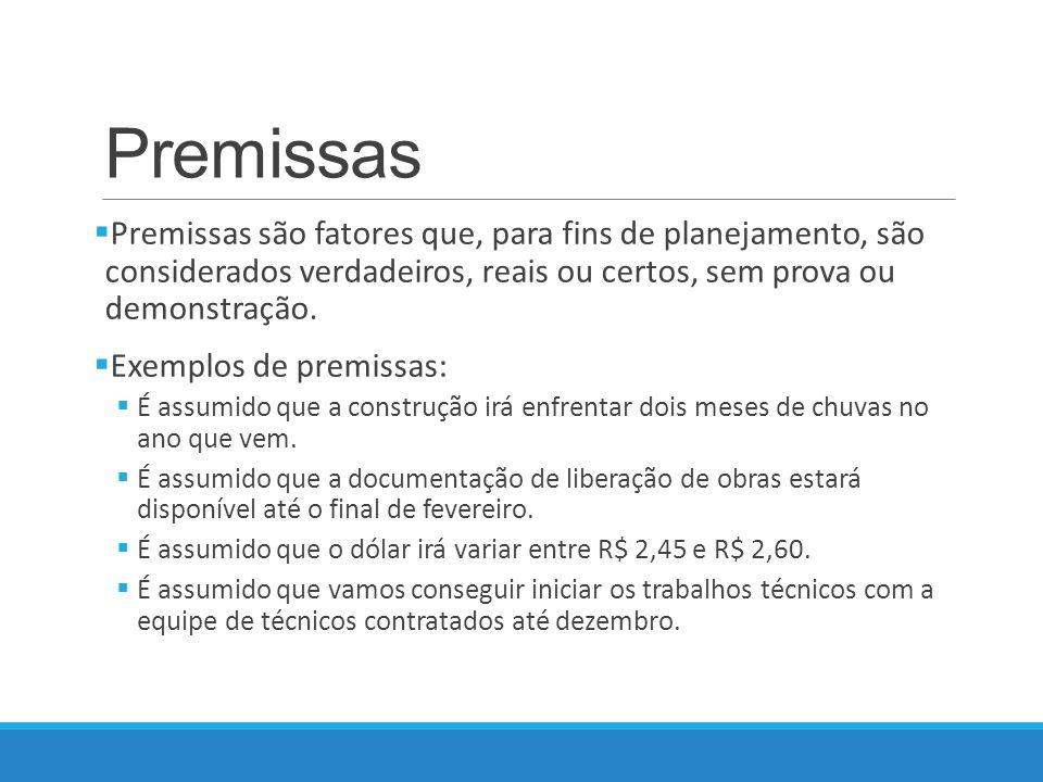 Premissas Premissas são fatores que, para fins de planejamento, são considerados verdadeiros, reais ou certos, sem prova ou demonstração.