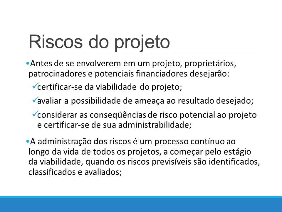 Riscos do projeto Antes de se envolverem em um projeto, proprietários, patrocinadores e potenciais financiadores desejarão: