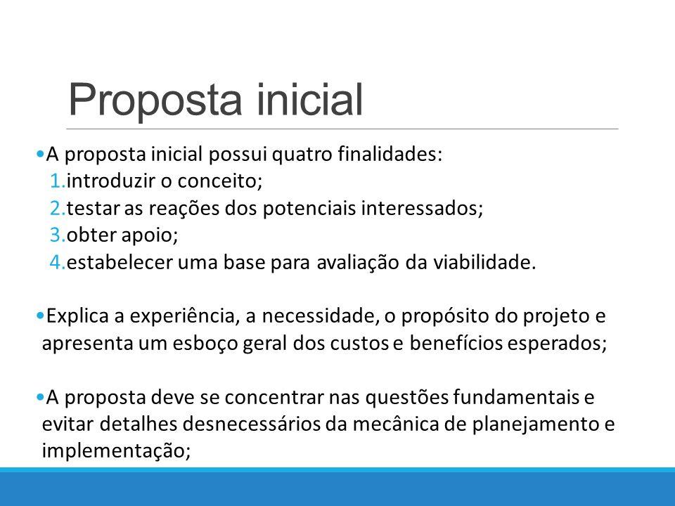 Proposta inicial A proposta inicial possui quatro finalidades: