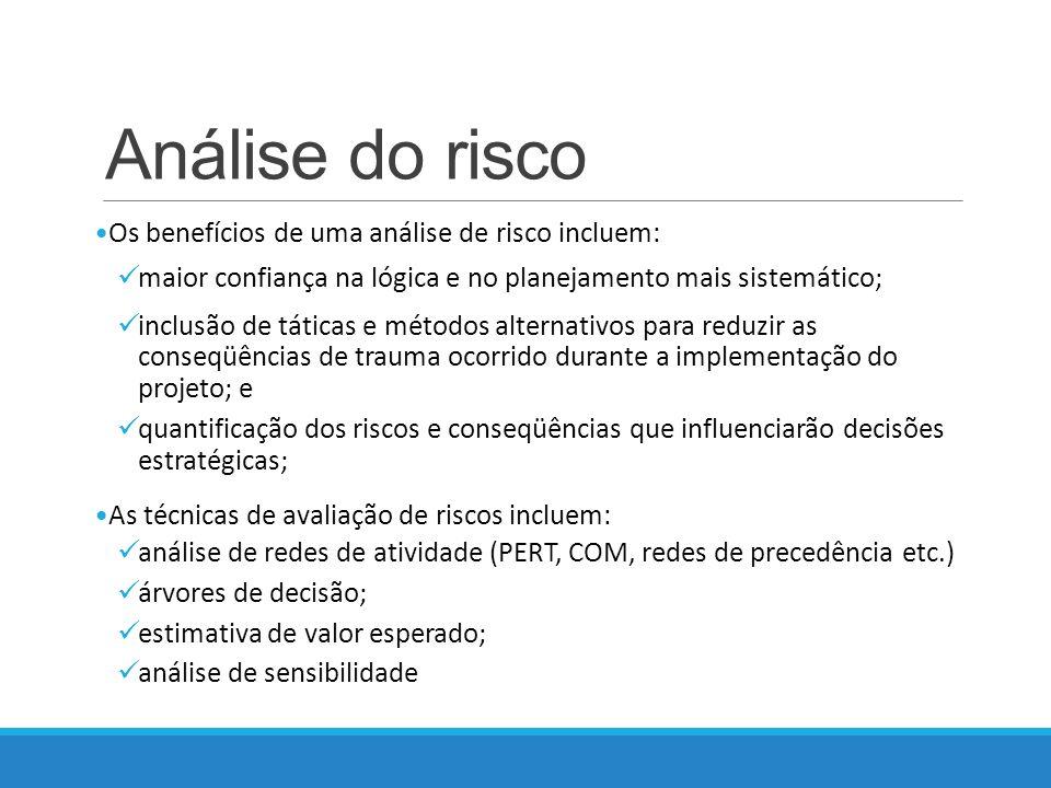 Análise do risco Os benefícios de uma análise de risco incluem: