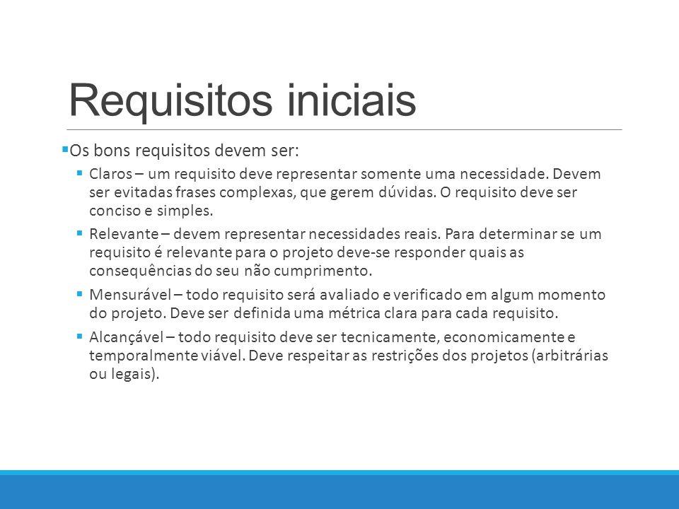 Requisitos iniciais Os bons requisitos devem ser: