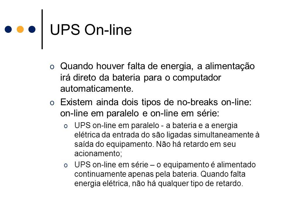 UPS On-line Quando houver falta de energia, a alimentação irá direto da bateria para o computador automaticamente.