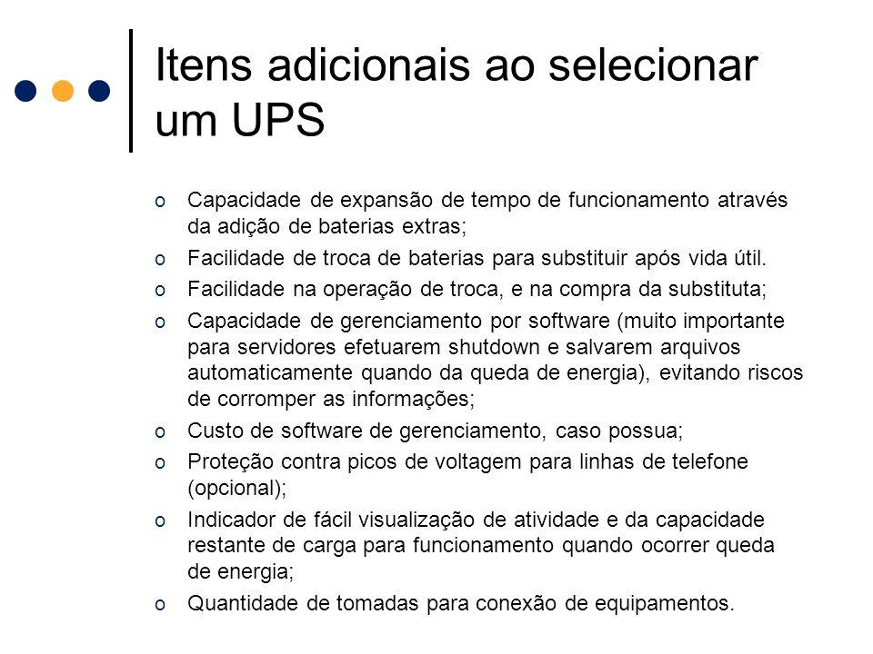 Itens adicionais ao selecionar um UPS